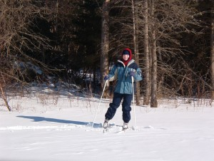 Amy on skis